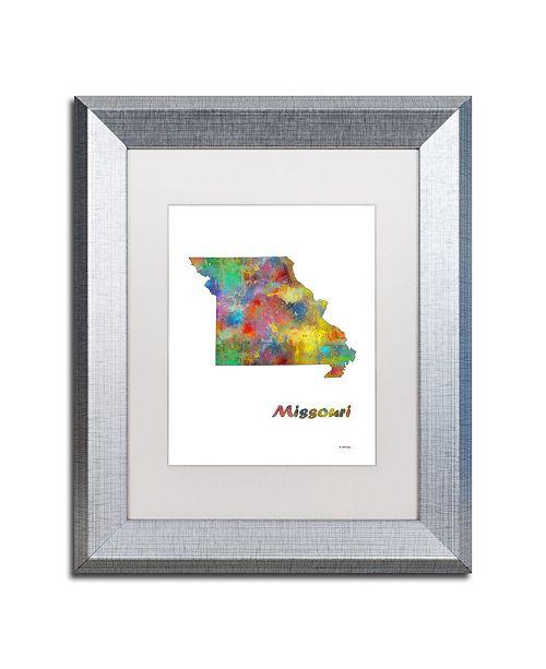 "Trademark Global Marlene Watson 'Missouri State Map-1' Matted Framed Art - 11"" x 14"""