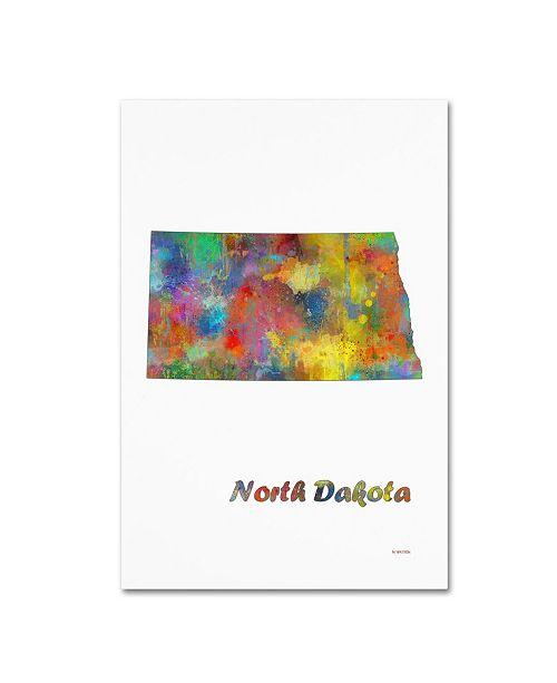 "Trademark Global Marlene Watson 'North Dakota State Map-1' Canvas Art - 12"" x 19"""