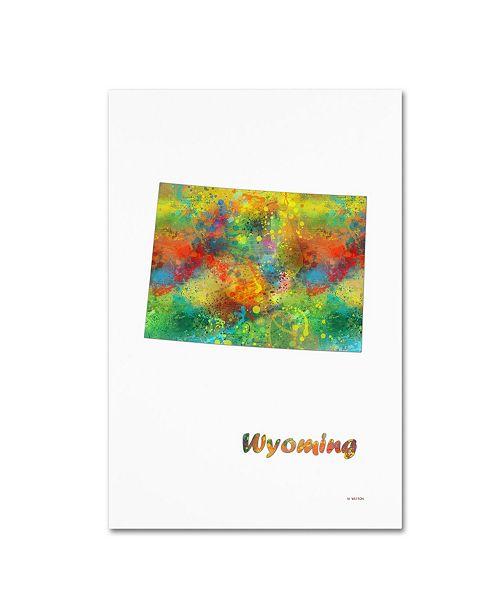 "Trademark Global Marlene Watson 'Wyoming State Map-1' Canvas Art - 12"" x 19"""