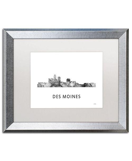 "Trademark Global Marlene Watson 'Des Moines Iowa Skyline WB-BW' Matted Framed Art - 16"" x 20"""