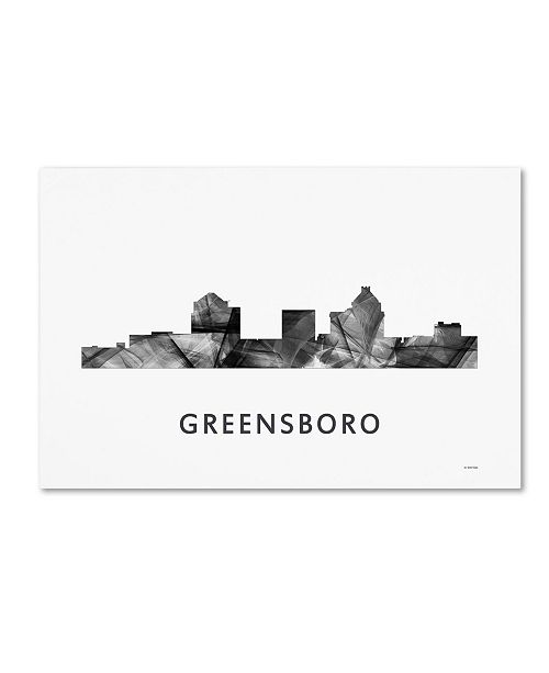 "Trademark Global Marlene Watson 'Greensboro NC Skyline WB-BW' Canvas Art - 12"" x 19"""