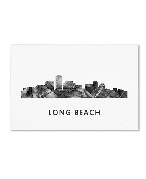 "Trademark Global Marlene Watson 'Long Beach California Skyline WB-BW' Canvas Art - 12"" x 19"""