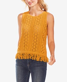 Vince Camuto Diamond-Stitch Fringe Top