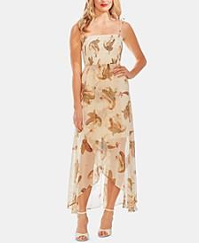 Smocked Faux-Wrap Maxi Dress