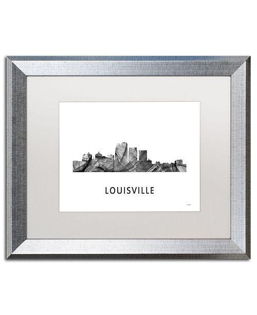 "Trademark Global Marlene Watson 'Louisville Kentucky Skyline WB-BW' Matted Framed Art - 16"" x 20"""