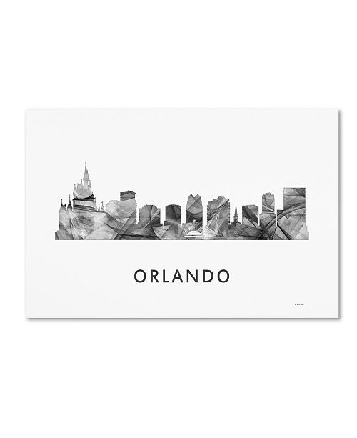 "Trademark Global Marlene Watson 'Orlando Florida Skyline WB-BW' Canvas Art - 12"" x 19"""