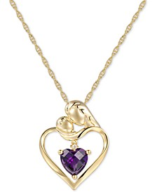 """Amethyst (1-1/4 ct. t.w.) & Diamond Accent Mother and Child 18"""" Pendant Necklace in 14k Gold"""