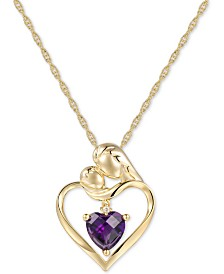 "Amethyst (1-1/4 ct. t.w.) & Diamond Accent Mother and Child 18"" Pendant Necklace in 14k Gold"