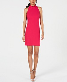 Petite Ruffled Mock-Neck Dress