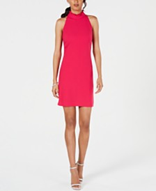 Vince Camuto Petite Ruffled Mock-Neck Dress