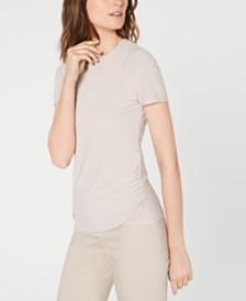 Anne Klein Ruched Crewneck Short-Sleeve Top