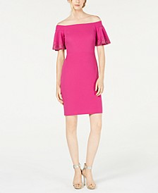 Embellished Off-The-Shoulder Sheath Dress