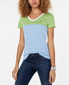Tommy Hilfiger Striped V-Neck Cotton T-Shirt, Created for Macy's