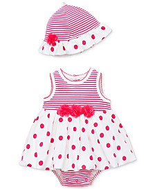 Little Me Baby Girls 2-Pc. Polka-Dot Cotton Popover & Hat Set