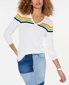 Tommy Hilfiger Multi-Stripe V-Neck Top, Created for Macy's