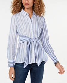 Tommy Hilfiger Tie-Waist Button-Down Tunic Top, Created for Macy's