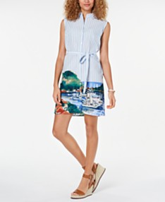 11a46e584 Tommy Hilfiger Printed-Hem Cotton Shirtdress, Created for Macy's