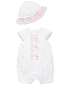 Little Me Baby Girls 2-Pc. Hearts Cotton Romper & Sun Hat Set