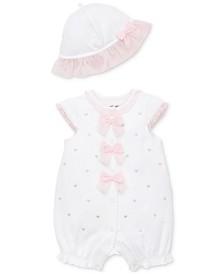 Little Me Baby Girls 2-Pc. Hearts Cotton Romper & Sun Hat Set