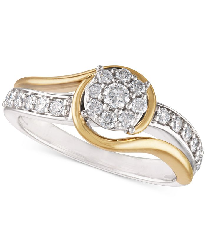 Macy's - Two-Tone Diamond Cluster Bridal Ring (1/2 ct. t.w.) in 14k White Gold and 14k Gold