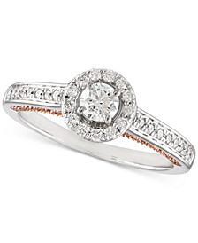 Diamond Halo Engagement Ring (1/2 ct. t.w.) in 14k White Gold and 14k Rose Gold