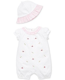 Baby Girls 2-Pc. Spring Buds Cotton Romper & Sun Hat Set