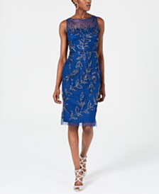 Adrianna Papell Embellished Illusion Sheath Dress