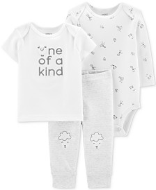 Carter's Baby Boys & Girls 3-Pc. Cotton T-Shirt, Bodysuit & Pants Set