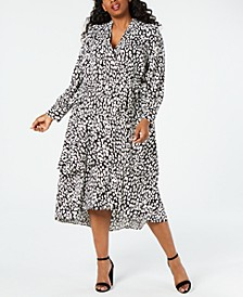 Plus Size Animal-Print Wrap Midi Dress