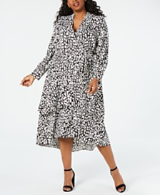 Calvin Klein Plus Size Animal-Print Wrap Midi Dress
