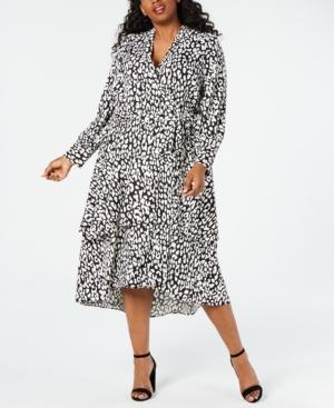 Plus Size Animal-Print Wrap Midi Dress in Black/Cream