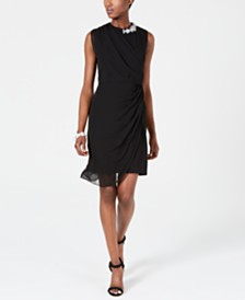 MSK Petite Embellished Draped Sheath Dress