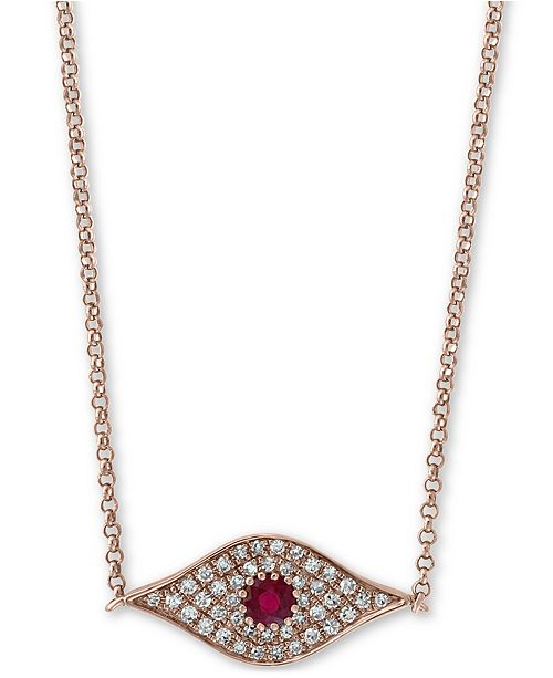 "EFFY Collection EFFY® Certified Ruby (1/6 ct. t.w.) & Diamond (1/8 ct. t.w.) Evil Eye Pendant Necklace in 14k Rose Gold, 14"" + 2"" Extender"