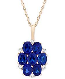 "Sapphire (1-3/4 ct. t. w.) & Diamond Accent Cluster 18"" Pendant in 14k Gold"