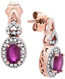 Certified Ruby (1-1/5 ct. t.w.) & Diamond (1/4 ct. t.w.) Drop Earrings in 14k Rose Gold