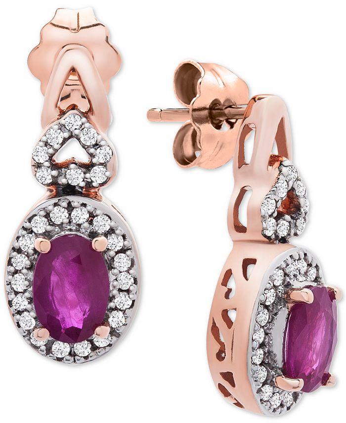 Macy's - Certified Ruby (1-1/5 ct. t.w.) & Diamond (1/4 ct. t.w.) Drop Earrings in 14k Rose Gold