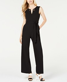 Calvin Klein Belted Toggle-Chain Jumpsuit