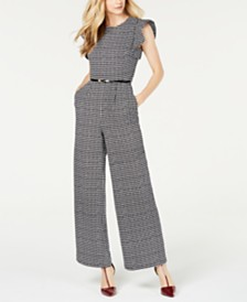 Calvin Klein Houndstooth Belted Jumpsuit
