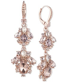Marchesa Rose Gold-Tone Crystal Cluster Double Drop Earrings