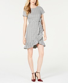 Calvin Klein Petite Plaid Ruffled Dress