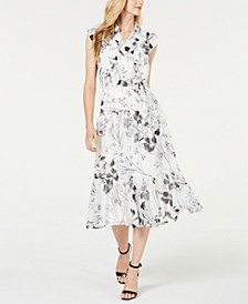 Ruffled Floral Chiffon Midi Shirtdress