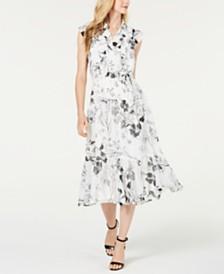 Calvin Klein Ruffled Floral Chiffon Midi Shirtdress