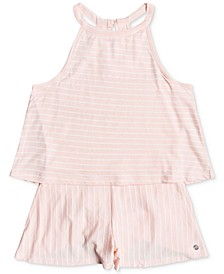Big Girls Striped Cotton Popover Romper