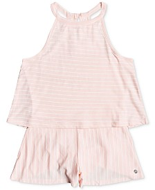Roxy Big Girls Striped Cotton Popover Romper