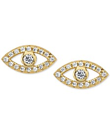 Unwritten Cubic Zirconia Evil-Eye Stud Earrings in Gold-Plated Sterling Silver