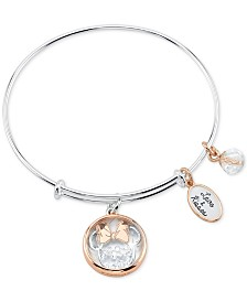 Unwritten Crystal Minnie Mouse Charm Bangle Bracelet in Stainless Steel & Rose Gold-Tone