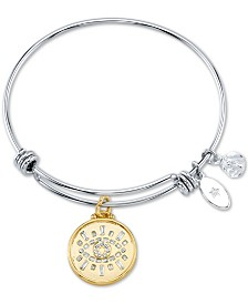 Unwritten Cubic Zirconia Evil Eye Charm Bangle Bracelet in Silver-Plate Stainless Steel and Gold-Tone Stainless Steel