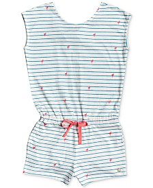 Roxy Little Girls Striped Flamingo-Print Cotton Romper
