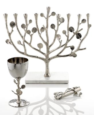 Judaica Botanical Leaf Menorah