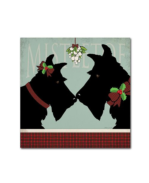 "Trademark Global Stephanie Marrott 'Scottie Mistletoe' Canvas Art - 14"" x 14"""